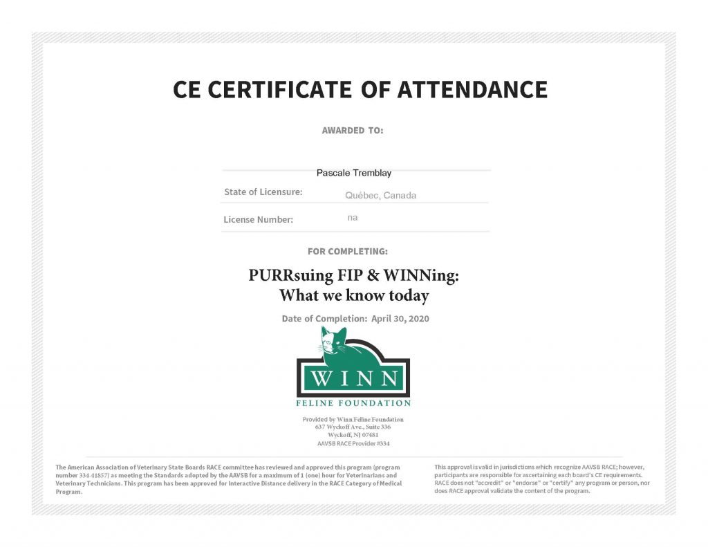 Attestation de formations : PURRsuing FIP and WINNing: What We Know Today